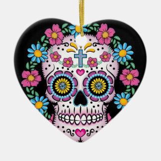 Dia de los Muertos Skull Ceramic Heart Ornament