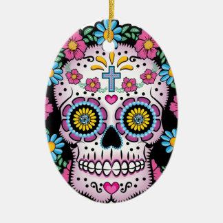 Dia de los Muertos Skull Ceramic Oval Ornament