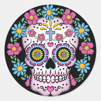 Dia de los Muertos Skull Classic Round Sticker