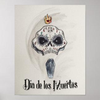 Dia de los Muertos Skull Head Poster