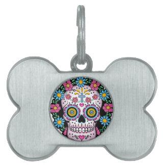 Dia de los Muertos Skull Pet Name Tag