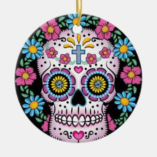 Dia de los Muertos Skull Round Ceramic Ornament
