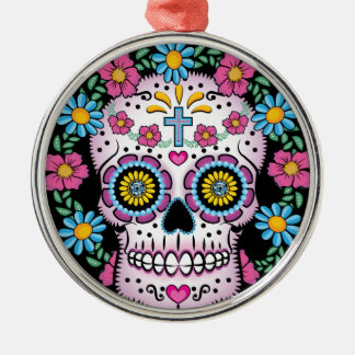 Dia de los Muertos Skull Silver-Colored Round Ornament