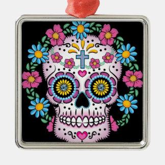 Dia de los Muertos Skull Silver-Colored Square Ornament