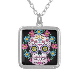Dia de los Muertos Skull Silver Plated Necklace