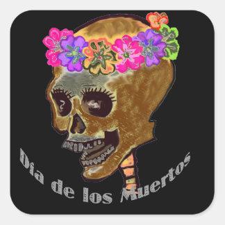 Dia de Los Muertos Skull Square Sticker