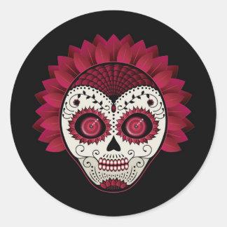 Dia de los Muertos spiderweb red flower skull Round Sticker