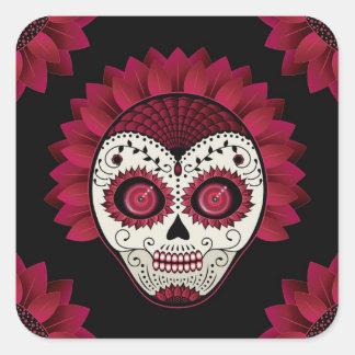 Dia de los Muertos spiderweb red flower skull Square Sticker