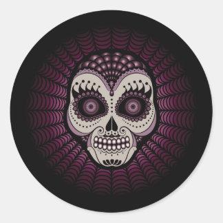 Dia de los Muertos spiderweb skull Round Sticker