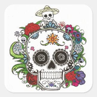 dia de los muertos square sticker