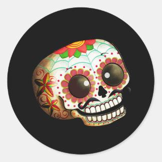 Dia de Los Muertos Sugar Skull Art Round Sticker