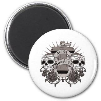 Dia De Los Muertos Sugar Skull Cross Roses 2 Inch Round Magnet