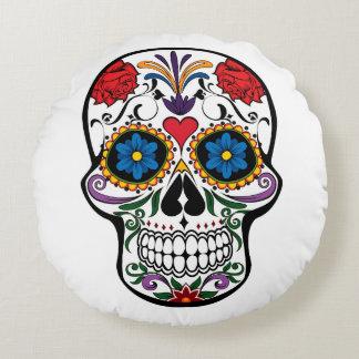 Dia de Los Muertos Sugar Skull Round Pillow