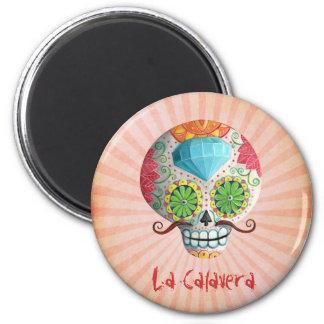Dia de Los Muertos Sugar Skull with Mustaches 2 Inch Round Magnet