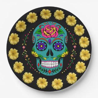 """Dia de los Muertos Teal Sugar Skull & Daisies 9"""" Paper Plate"""
