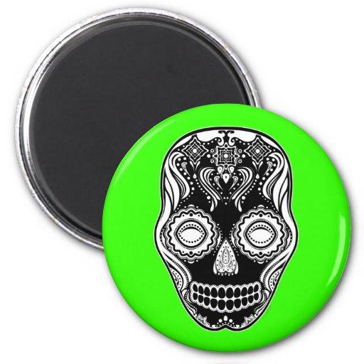 Dia de los Muertos That Girl Skull Black Refrigerator Magnet