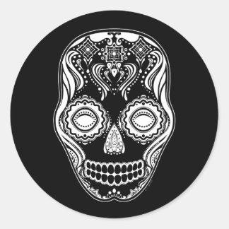 Dia de los Muertos That Girl Skull Black Round Sticker