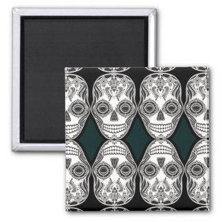 Dia de los Muertos That Girl Skull Diamond Pattern Square Magnet