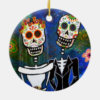 DIA DE LOS MUERTOS WEDDING ROUND CERAMIC ORNAMENT