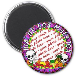 Dia De Los Muertos Wild Colors Photo Frame 2 Inch Round Magnet