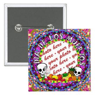 Dia De Los Muertos Wild Colors Photo Frame 2 Inch Square Button