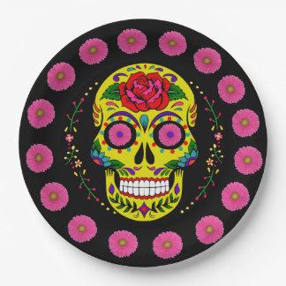 Dia de los Muertos Yellow Sugar Skull & Pink Daisy Paper Plate