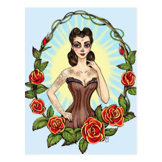 Día de Muertos Day of the Dead vintage tatto lady Postcard
