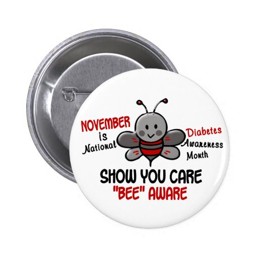 Diabetes Awareness Month Bee 1.1 Pinback Buttons