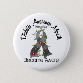 Diabetes Awareness Month Flower Ribbon 2 2 Inch Round Button