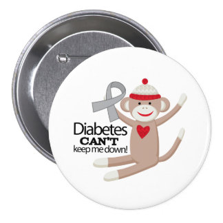 Diabetes Cant Keep Me Down Sock Monkey 3 Inch Round Button
