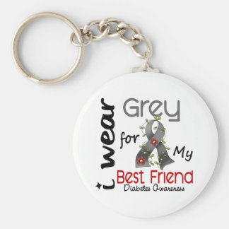 Diabetes I Wear Grey For My Best Friend 43 Basic Round Button Keychain