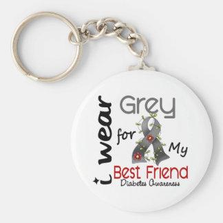 Diabetes I Wear Grey For My Best Friend 43 Keychain