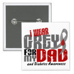 Diabetes I WEAR GREY FOR MY DAD 6.2 Pinback Buttons