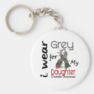 Diabetes I Wear Grey For My Daughter 43 Basic Round Button Keychain