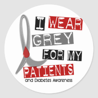 Diabetes I Wear Grey For My Patients 37 Classic Round Sticker