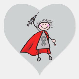 Diabetes Insulin Superhero Girl Heart Sticker