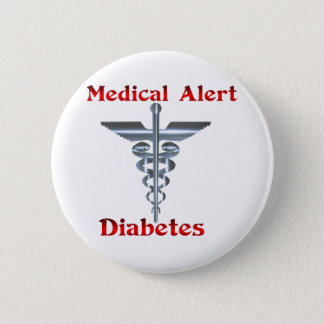Diabetes Medical Alert Silver Rod & Snakes 2 Inch Round Button