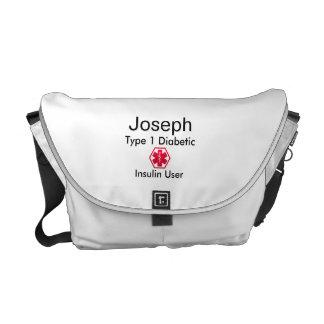 Diabetes Medical Alert  type 1 or 2 Courier Bag