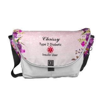 Diabetes Medical Alert  type 1 or 2 floral Glitter Messenger Bag