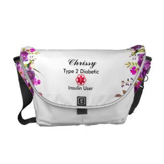 Diabetes Medical Alert  type 1 or 2 floral Messenger Bag