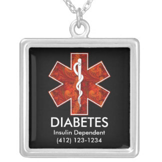 Diabetes Medical   Necklace: Customizable Silver Plated Necklace