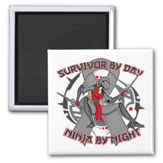 Diabetes Survivor By Day Ninja By Night Square Magnet