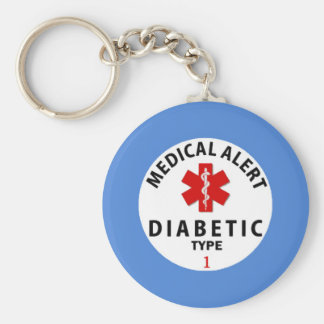 DIABETES TYPE 1 BASIC ROUND BUTTON KEYCHAIN