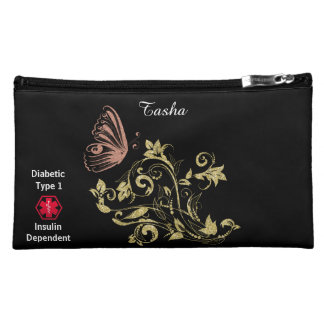 Diabetes Type 1 Butterfly Cosmetic Bag