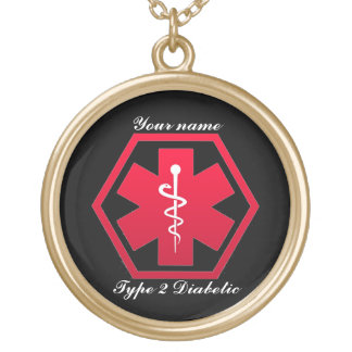 Diabetic Medical Alert Gold Plated Necklace