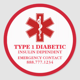 37affd3368b Diabetic Medical Information Classic Round Sticker
