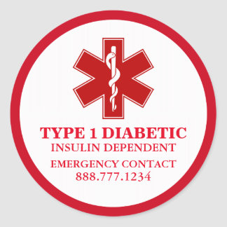 Diabetic Medical Information Round Sticker