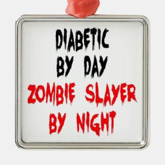 Diabetic Zombie Slayer Silver-Colored Square Ornament