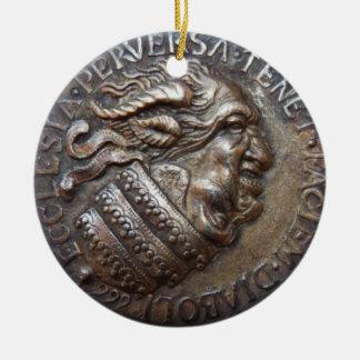 Diabolic Christmas adornment by RetroCharms Round Ceramic Ornament