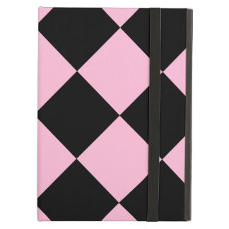 Diag Checkered Large - Black and Cotton Candy Cover For iPad Air